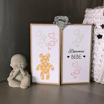 Carte à volets rabattables ''Bienvenue Bébé, Félicitations''