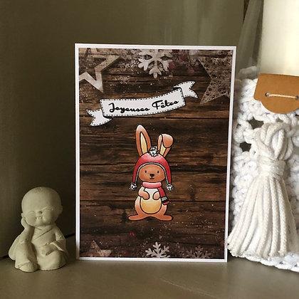 Carte ''Joyeuses Fêtes'' avec petit lapin