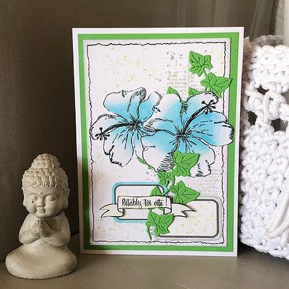 Carte ''Rétablis-toi vite'' avec hibiscus bleu