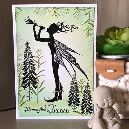 Carte ''Bonne fête maman'' avec fée, dans les tons verts