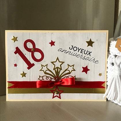 Grande carte ''Joyeux anniversaire'' 18 ans