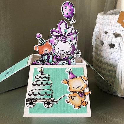 Carte pop up ''Joyeux anniversaire'' avec chats et chiens