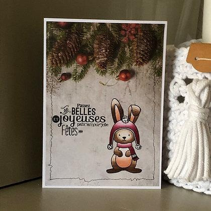Carte ''Belles et Joyeuses Fêtes'' avec lapin
