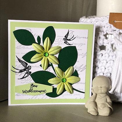 Carte ''Bon rétablissement'' avec fleurs