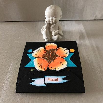Post'it ''Merci'' avec fleur d'hibiscus