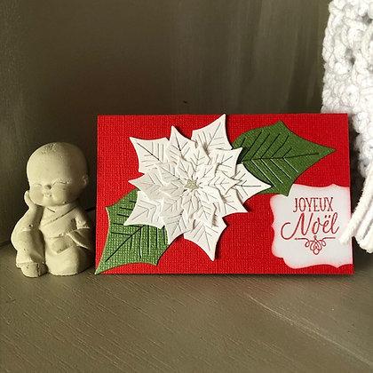 Pochette pour bon cadeau ''Joyeux Noël'' avec fleur