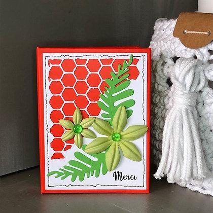 Carnet à post'it ''Merci'' avec fleurs vertes.