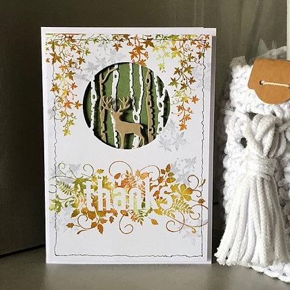 Carte ''thanks'' dans les couleurs automnales avec un cerf