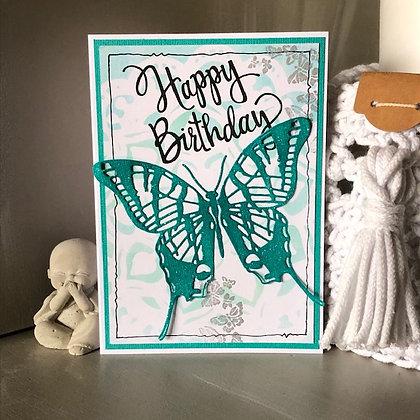 Carte ''Happy Birthday'' avec grand papillon brillant