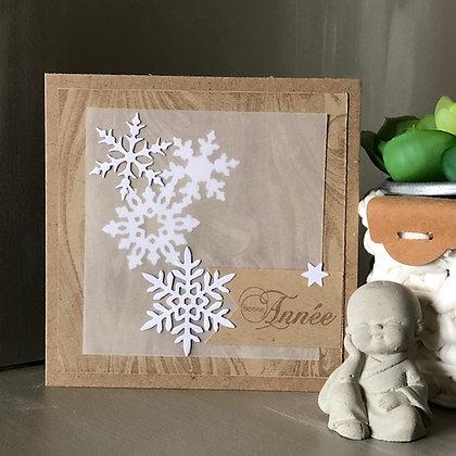 Carte ''Bonne Année'' dans les tons kraft avec papier calque