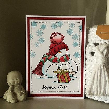 Carte ''Joyeux Noël'' avec bonhomme de neige