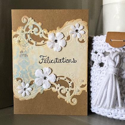 Grande carte ''Félicitation'' style vintage