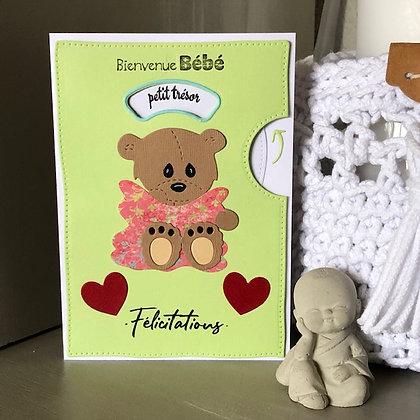 Carte ''Bienvenue Bébé'' avec voeux qui tournent