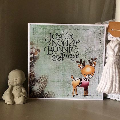 Carte ''Joyeux Noël et Bonne Année'' avec petit renne