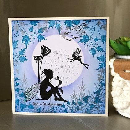 Carte ''Bonne fête des mères'' avec petite fée, tons bleus-pétroles