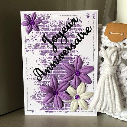Carte ''Joyeux anniversaire'' dans les tons violets