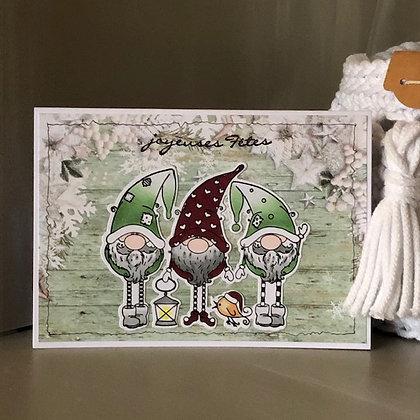 Carte ''Joyeuses Fêtes'' avec lutins dans les tons verts