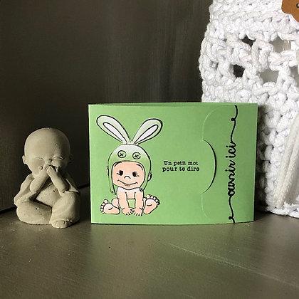 Pochette pour bon cadeau ''Bienvenu bébé, félicitations''