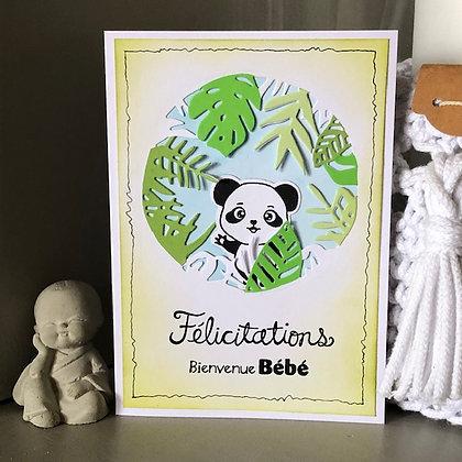 Carte ''Félicitations, Bienvenue Bébé'' avec panda