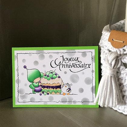 Carte ''Joyeux anniversaire'' avec gros gâteau dans les tons verts
