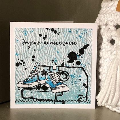 Petite carte ''Joyeux anniversaire'' avec basket