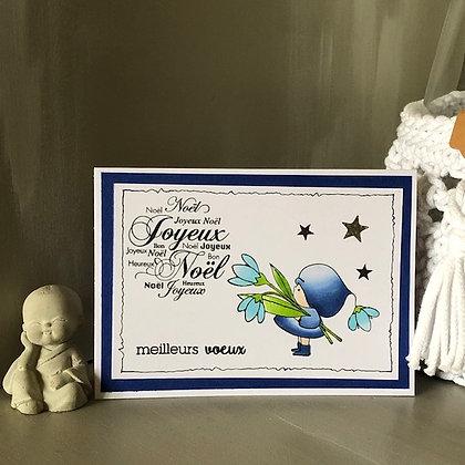Carte ''Joyeux Noël'' dans les tons bleus