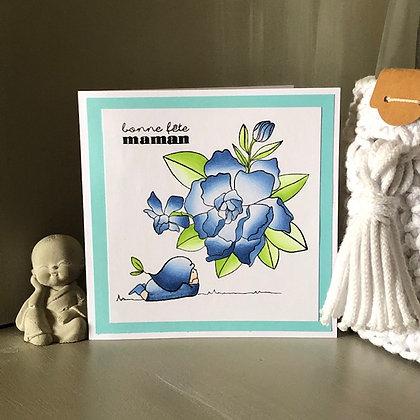 Carte ''bonne fête maman'' dans les tons bleus