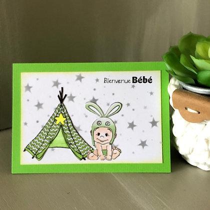 Carte ''Bienvenue Bébé'' dans les tons verts