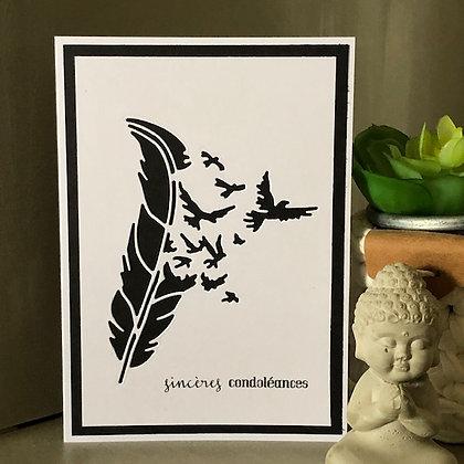 Carte ''Sincères condoléances'' avec envolée d'oiseaux