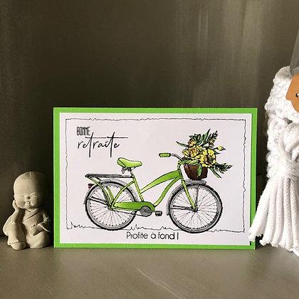 Carte ''Bonne retraite, profite à fond!'' avec un vélo