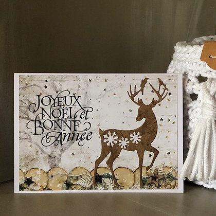 Carte ''Joyeux Noël et Bonne Année'' avec un renne