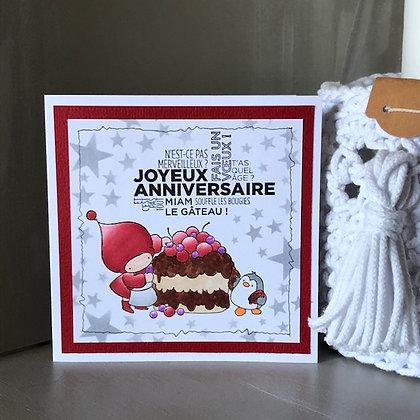 Carte ''Joyeux anniversaire, miam le gâteau'' avec fonds étoilé