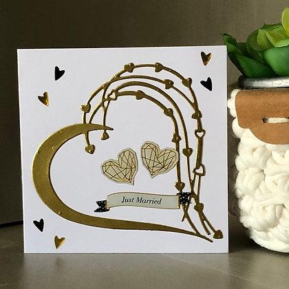Petit carte ''Juste Married''avec coeur doré