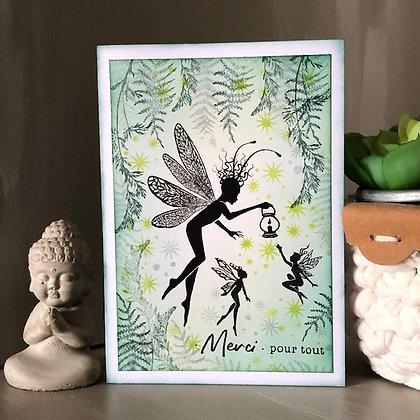 Carte ''Merci pour tout'' avec petites fées, dans les tons verts