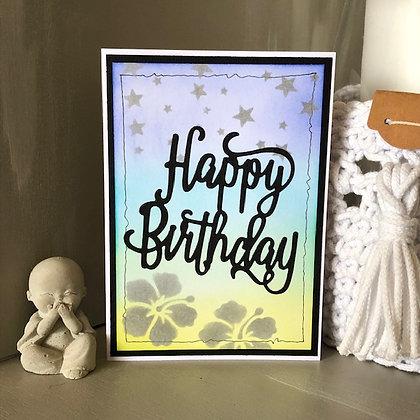 Carte ''Happy Birthday'' avec hibiscus et étoiles argentées