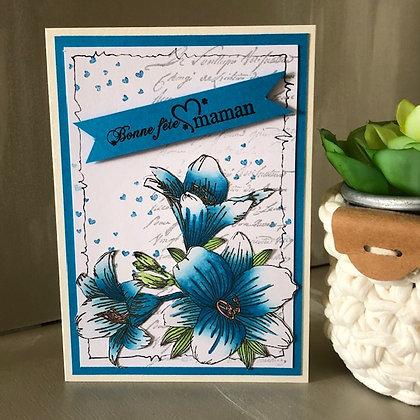 Carte ''Bonne fête maman'' avec fleurs bleues