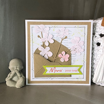 Carte ''Merci pour tout'' avec fleurs de cerisier