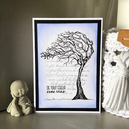 Carte ''De tout coeur avec vous'' avec un arbre sur un fonds texte