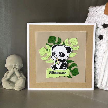 Petite carte ''Félicitations'' avec un petit panda