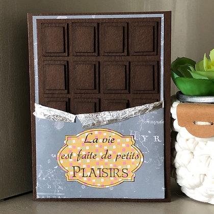 Carte plaque de chocolat ''La vie est faite de petits plaisirs''