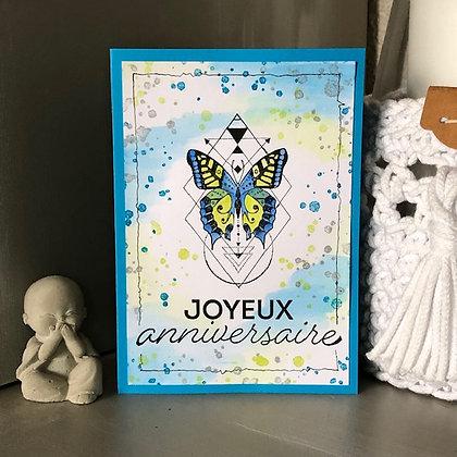 Carte ''Joyeux anniversaire'' avec un papillon
