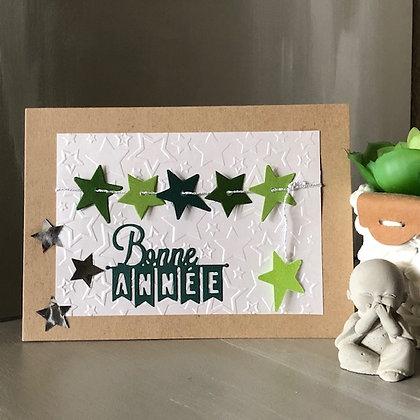 Carte ''Bonne Année'' avec étoiles, dans les tons verts