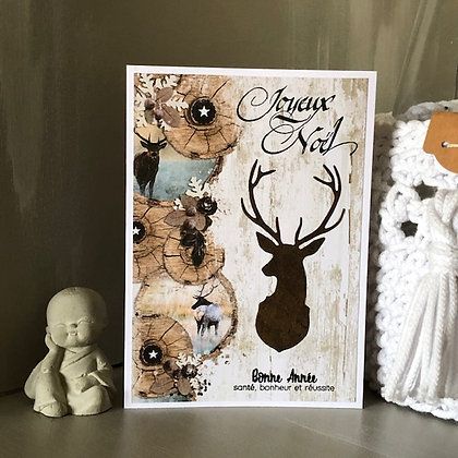 Carte ''Joyeux Noël et Bonne Année'' avec un cerf