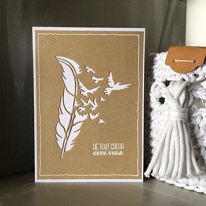Carte de deuil ''de tout coeur avec vous'' avec envolée d'oiseaux