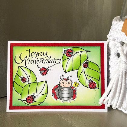 Carte ''Joyeux anniversaire'' avec coccinelles