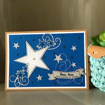 Carte ''Bonne Année'' bleue avec étoiles argentées