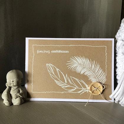 Carte ''Sincères condoléances'' avec plumes