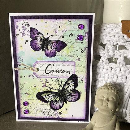 Carte ''Coucou'' papillons