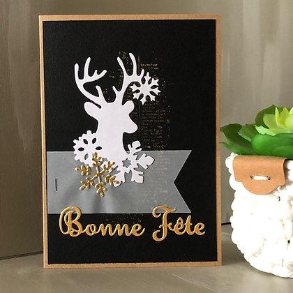 Carte ''Bonne Fête'' avec silhouette renne sur fonds noir