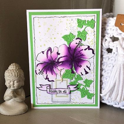 Carte ''Rétablis-toi vite'' avec hibiscus violet